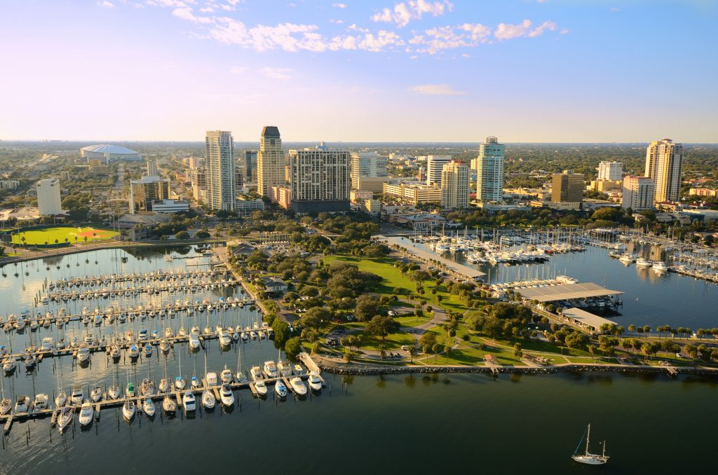 Aerial view of St Petersburg/St Pete, Florida at Tampa Bay
