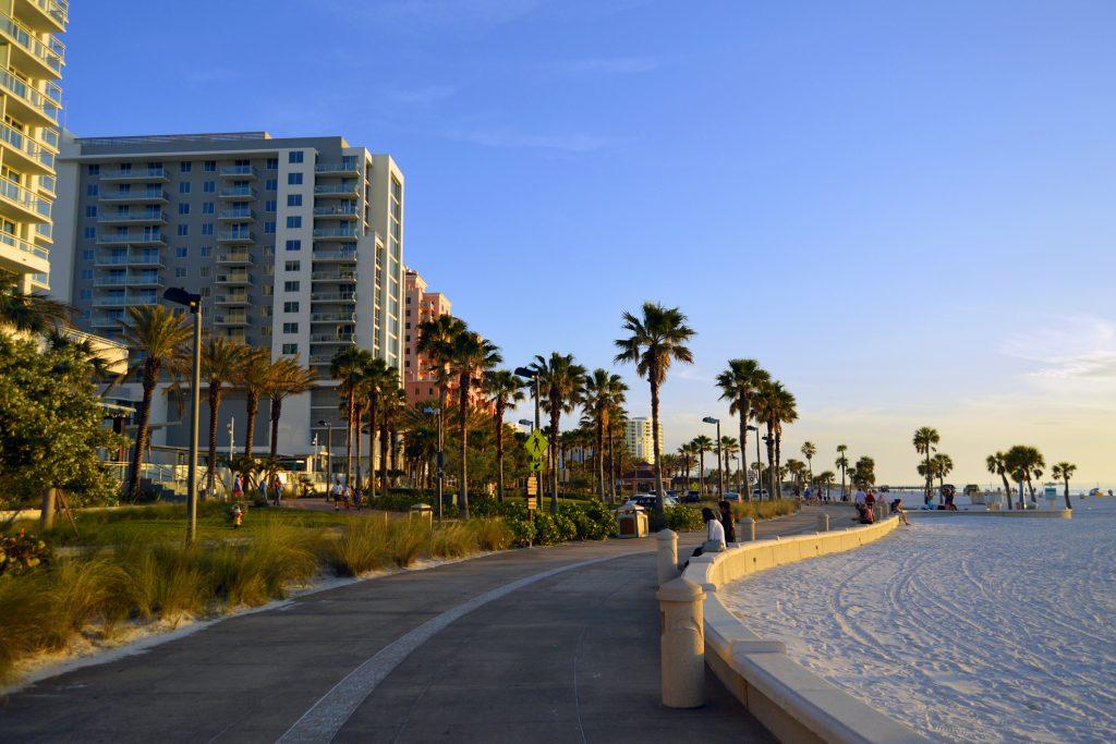 The beachwalk along Clearwater Beach around sunset