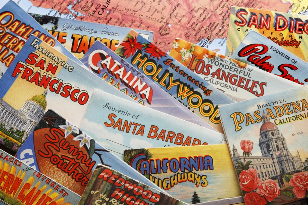 direct mail postcards - Vintage Postcards Of California Resting On Map Of California